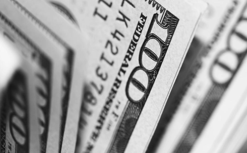 hundred dollar bills black and white