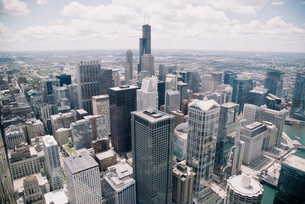Metropolitan landscape architectural buildings city