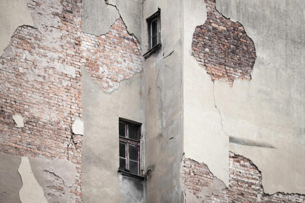 damaged building peeling walls