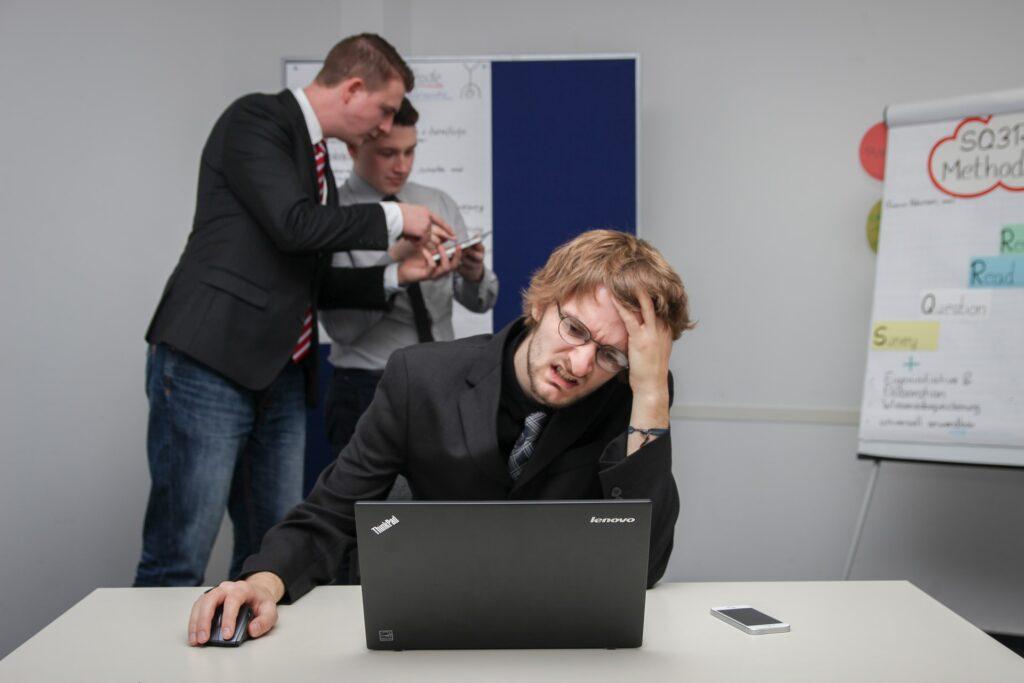 frustration looking at computer violation