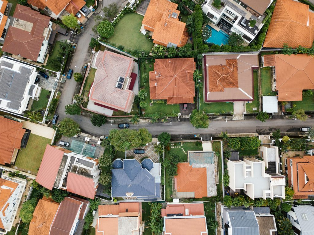houses lined up residential neighborhood
